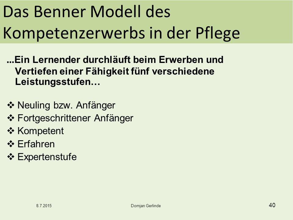 Das Benner Modell des Kompetenzerwerbs in der Pflege … Ein Lernender durchläuft beim Erwerben und Vertiefen einer Fähigkeit fünf verschiedene Leistung
