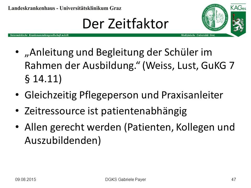 """Der Zeitfaktor """"Anleitung und Begleitung der Schüler im Rahmen der Ausbildung."""" (Weiss, Lust, GuKG 7 § 14.11) Gleichzeitig Pflegeperson und Praxisanle"""