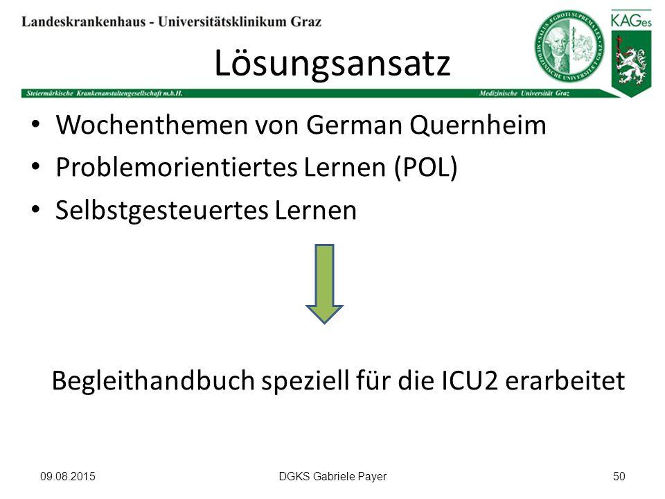 Lösungsansatz Wochenthemen von German Quernheim Problemorientiertes Lernen (POL) Selbstgesteuertes Lernen Begleithandbuch speziell für die ICU2 erarbe