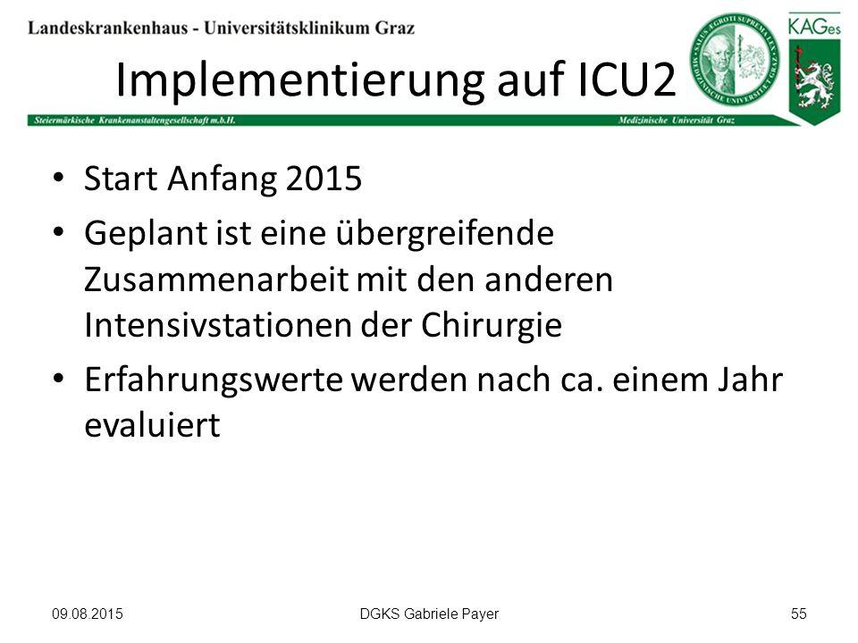 Implementierung auf ICU2 Start Anfang 2015 Geplant ist eine übergreifende Zusammenarbeit mit den anderen Intensivstationen der Chirurgie Erfahrungswer