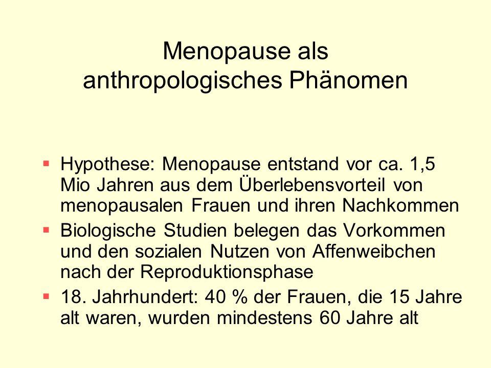 Menopause als anthropologisches Phänomen  Hypothese: Menopause entstand vor ca. 1,5 Mio Jahren aus dem Überlebensvorteil von menopausalen Frauen und