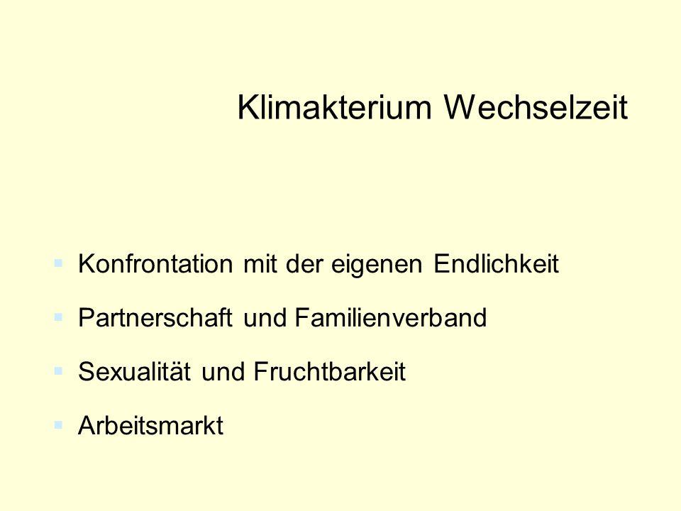 Klimakterium Wechselzeit  Konfrontation mit der eigenen Endlichkeit  Partnerschaft und Familienverband  Sexualität und Fruchtbarkeit  Arbeitsmarkt