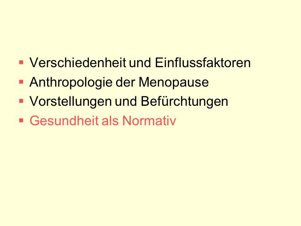  Verschiedenheit und Einflussfaktoren  Anthropologie der Menopause  Vorstellungen und Befürchtungen  Gesundheit als Normativ
