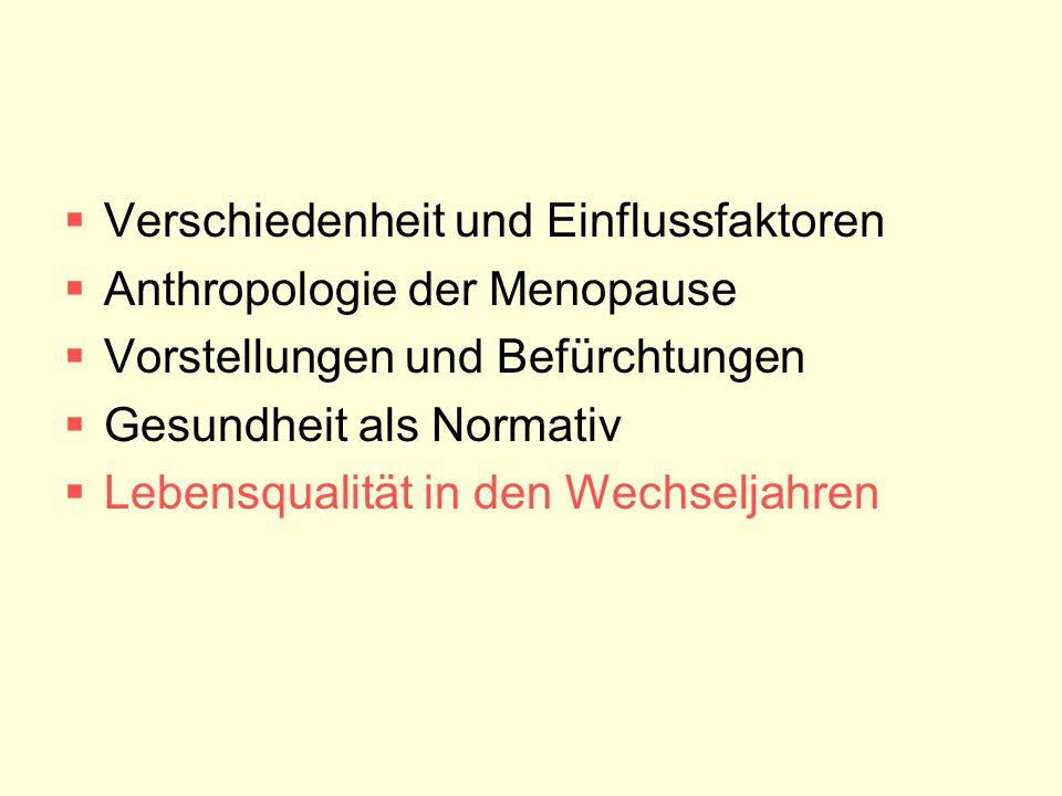  Verschiedenheit und Einflussfaktoren  Anthropologie der Menopause  Vorstellungen und Befürchtungen  Gesundheit als Normativ  Lebensqualität in d
