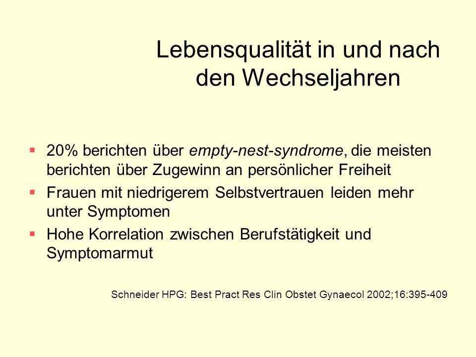 Lebensqualität in und nach den Wechseljahren  20% berichten über empty-nest-syndrome, die meisten berichten über Zugewinn an persönlicher Freiheit 