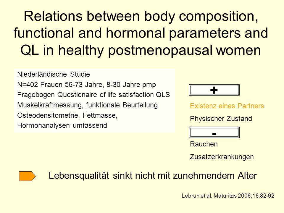 Relations between body composition, functional and hormonal parameters and QL in healthy postmenopausal women Niederländische Studie N=402 Frauen 56-7