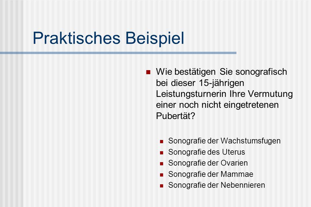 Differentialdiagnostik: Pubertas tarda Endokrinologische Differentialdiagnostik Hypogonadotroper Hypogonadismus (LH/FSH niedrig, E2, Testo niedrig) Funktioneller Gonadotropinmangel Leistungssport Ernährungsstörungen (Anorexie, Bulimie) Chronische Systemerkrankungen (Rheuma, Niere) Kongenitale ZNS-Defekte, Kallmann-Syndrom Schädel-Hirn-Traumata Sonografische Befunde: Schwer darstellbare, kleine Ovarien ohne Follikel oder polyfollikuläre Entwicklung Infantiler Uterus mit schmalem Endometrium Hypoplasie der Drüsenkörper beidseits