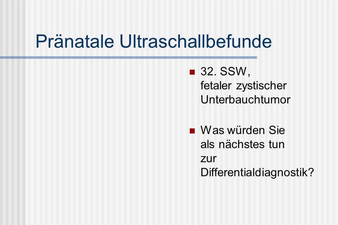 Pränatale Ultraschallbefunde 32. SSW, fetaler zystischer Unterbauchtumor Was würden Sie als nächstes tun zur Differentialdiagnostik?