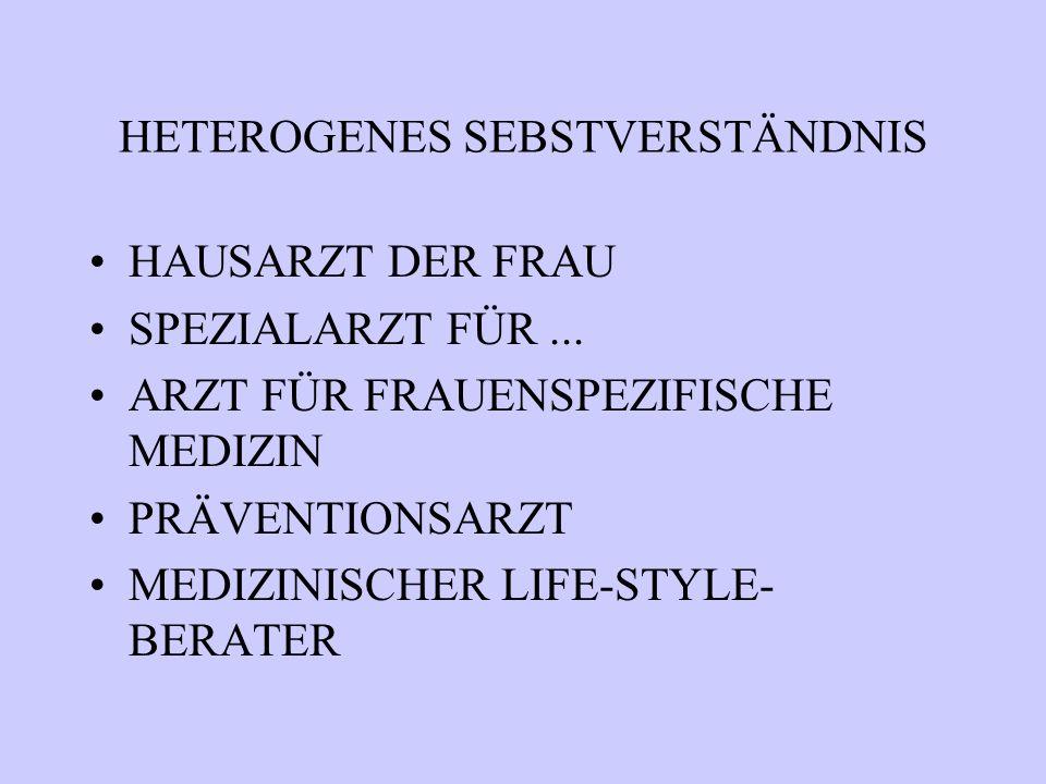 HETEROGENES SEBSTVERSTÄNDNIS HAUSARZT DER FRAU SPEZIALARZT FÜR... ARZT FÜR FRAUENSPEZIFISCHE MEDIZIN PRÄVENTIONSARZT MEDIZINISCHER LIFE-STYLE- BERATER