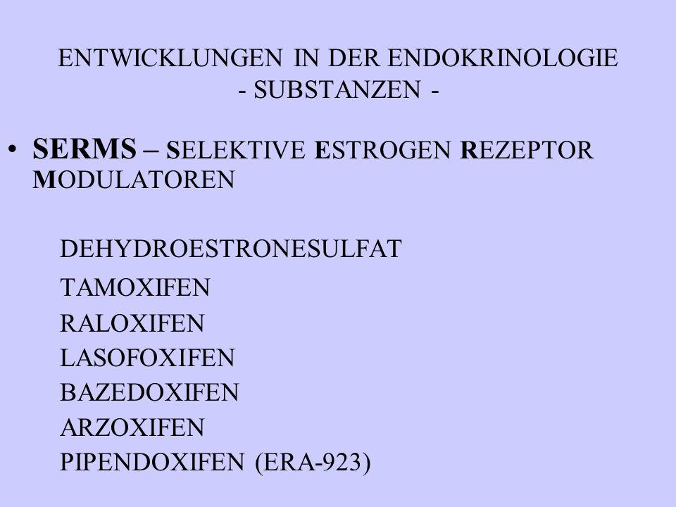 ENTWICKLUNGEN IN DER ENDOKRINOLOGIE - SUBSTANZEN - SERMS – SELEKTIVE ESTROGEN REZEPTOR MODULATOREN DEHYDROESTRONESULFAT TAMOXIFEN RALOXIFEN LASOFOXIFE