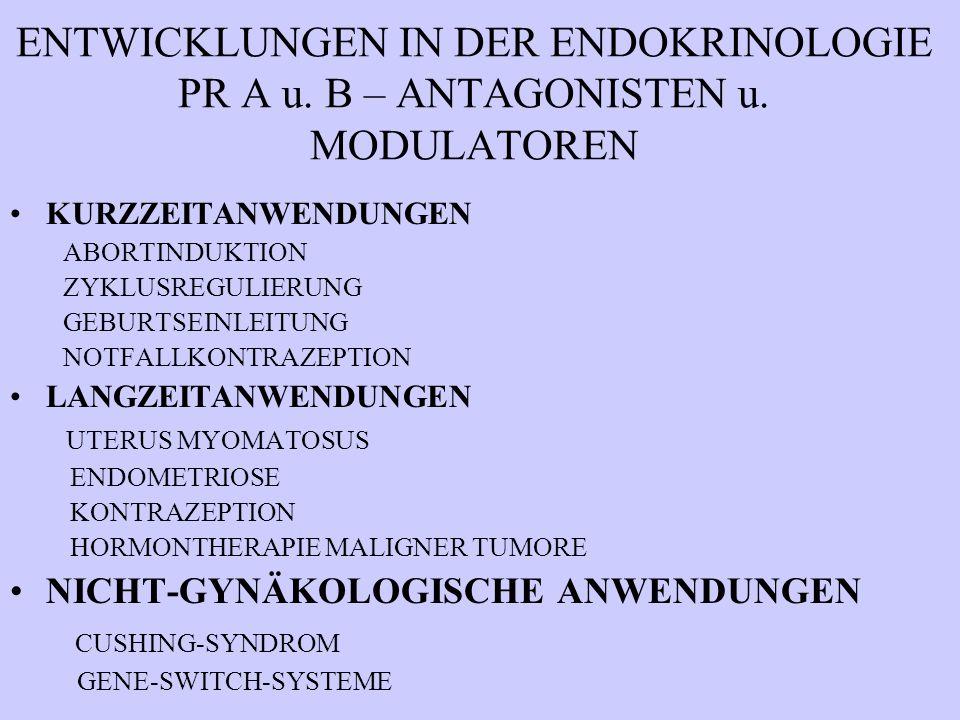 ENTWICKLUNGEN IN DER ENDOKRINOLOGIE PR A u. B – ANTAGONISTEN u. MODULATOREN KURZZEITANWENDUNGEN ABORTINDUKTION ZYKLUSREGULIERUNG GEBURTSEINLEITUNG NOT