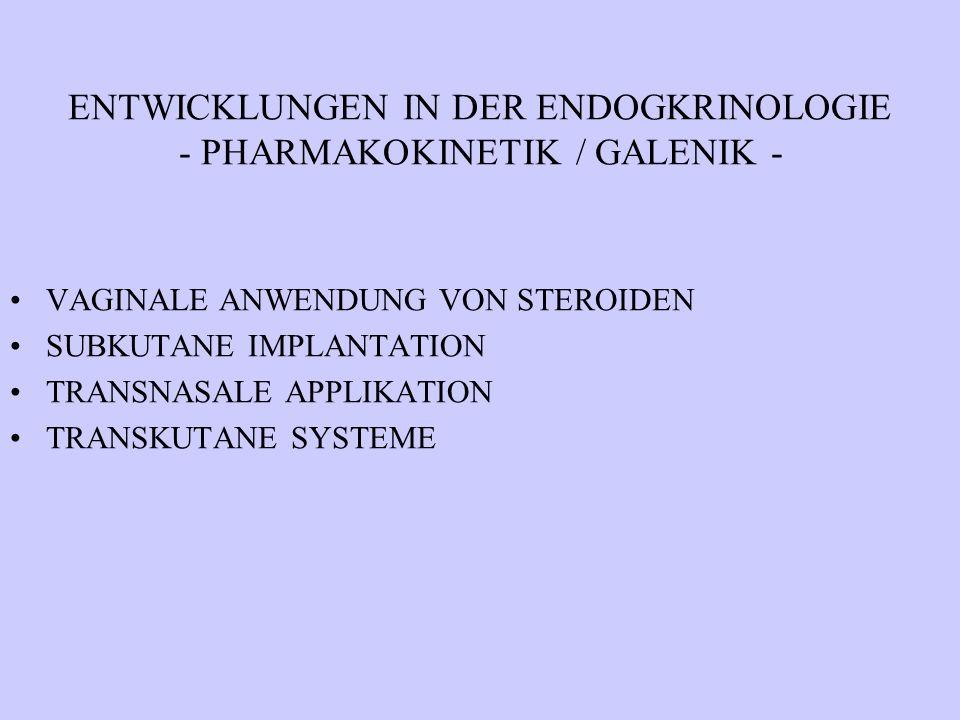 ENTWICKLUNGEN IN DER ENDOGKRINOLOGIE - PHARMAKOKINETIK / GALENIK - VAGINALE ANWENDUNG VON STEROIDEN SUBKUTANE IMPLANTATION TRANSNASALE APPLIKATION TRA