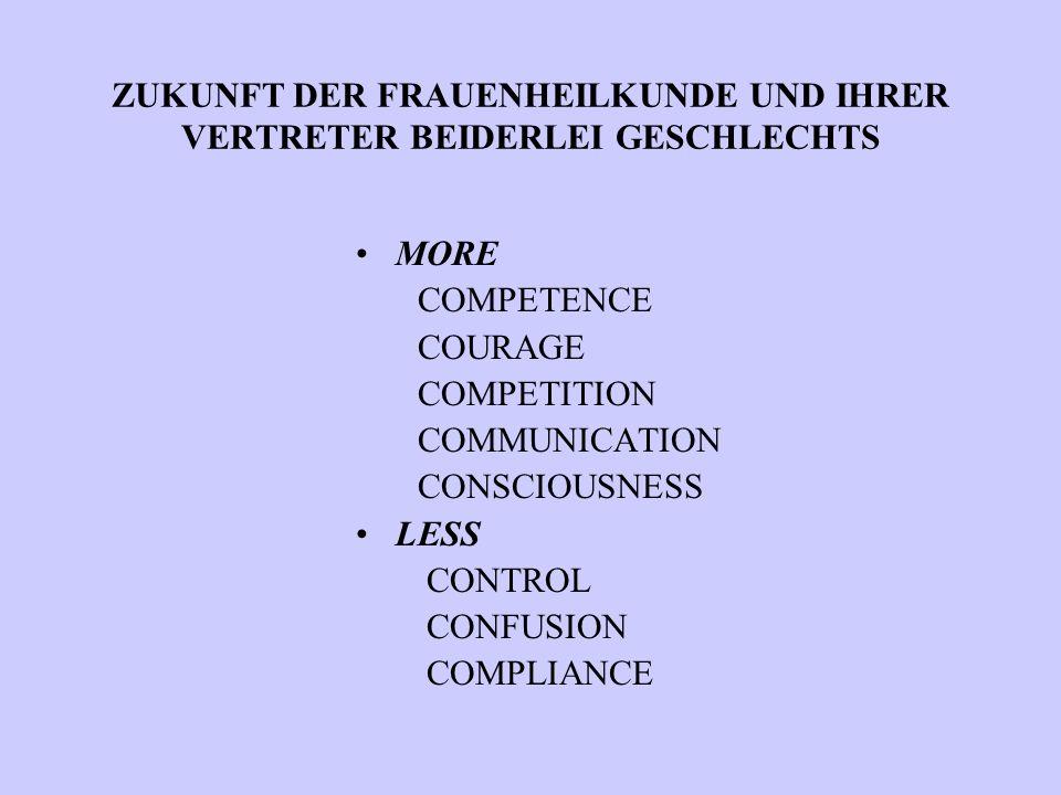 ZUKUNFT DER FRAUENHEILKUNDE UND IHRER VERTRETER BEIDERLEI GESCHLECHTS MORE COMPETENCE COURAGE COMPETITION COMMUNICATION CONSCIOUSNESS LESS CONTROL CON