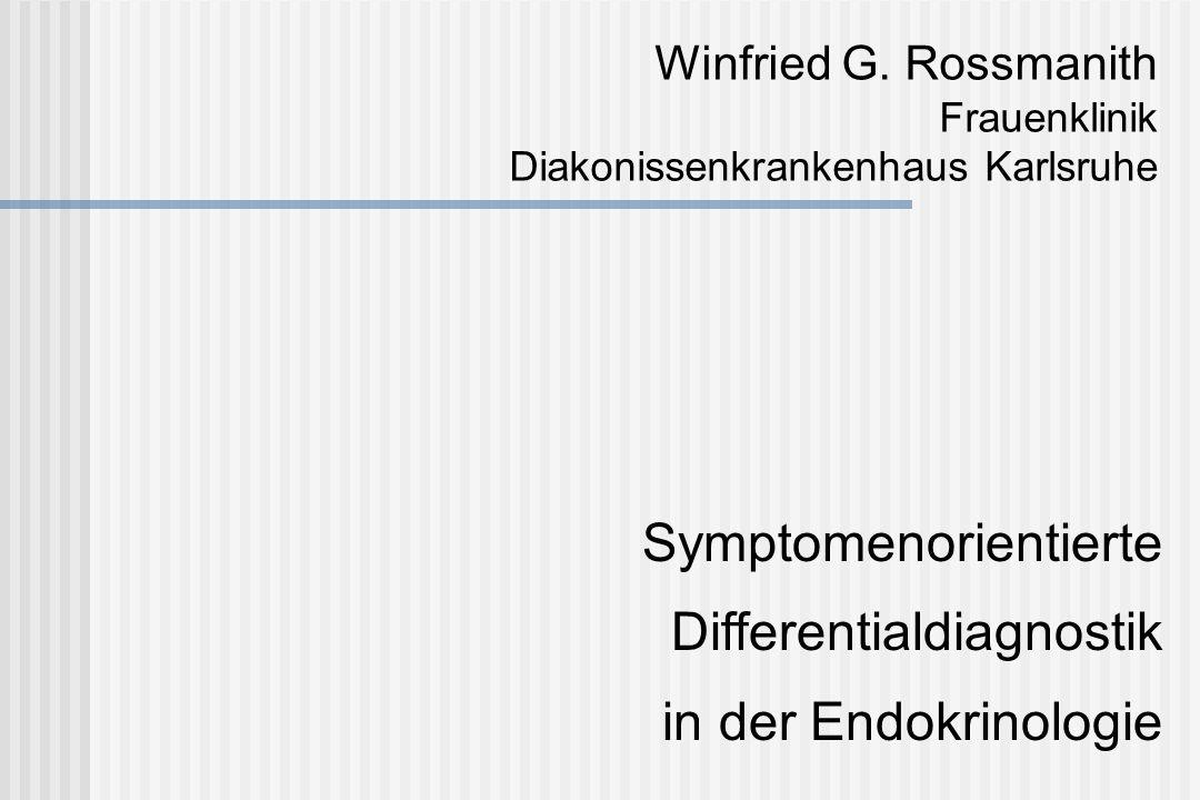 Differentialdiagnose: Androgenisierung Ursachen NNR-Prozesse Ovarielle Hyperandrogenämie Iatrogene Androgenisierung Adipositas Hormondiagnostik Testosteron, DHT, FAI DHAS, Cortisol, 17-OH-Prog SHBG ACTH-Test Dexamethason-Test