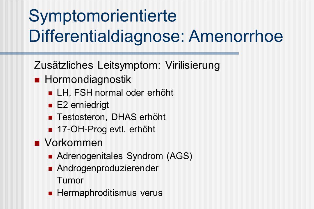 Symptomorientierte Differentialdiagnose: Amenorrhoe Zusätzliches Leitsymptom: Virilisierung Hormondiagnostik LH, FSH normal oder erhöht E2 erniedrigt Testosteron, DHAS erhöht 17-OH-Prog evtl.