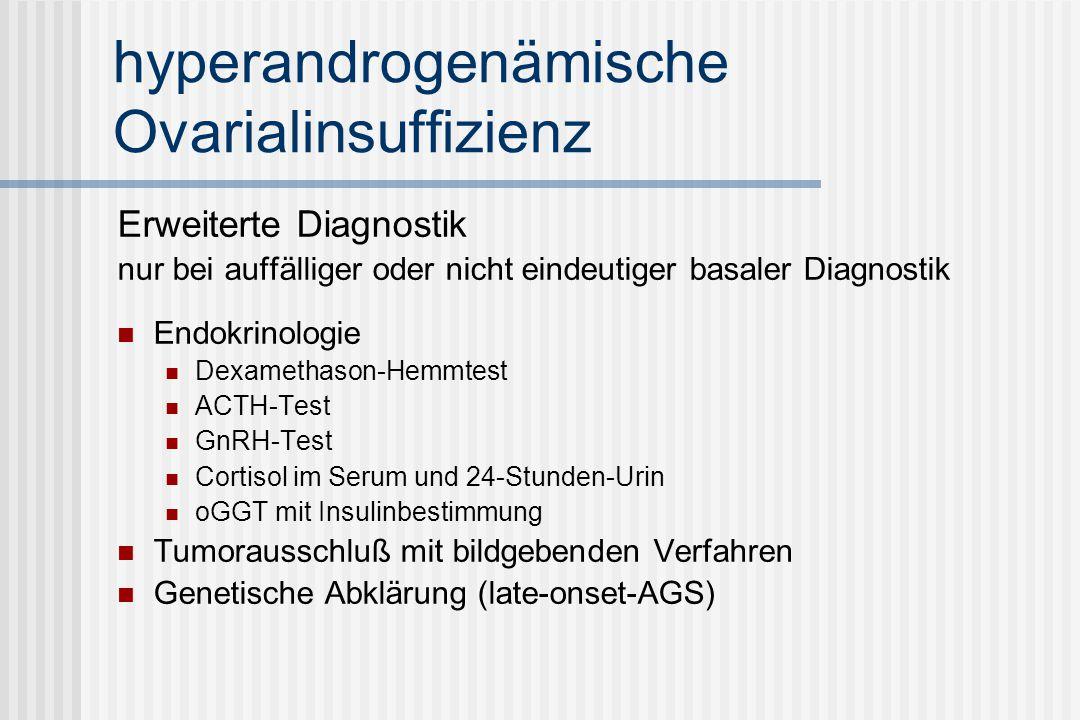 hyperandrogenämische Ovarialinsuffizienz Erweiterte Diagnostik nur bei auffälliger oder nicht eindeutiger basaler Diagnostik Endokrinologie Dexamethason-Hemmtest ACTH-Test GnRH-Test Cortisol im Serum und 24-Stunden-Urin oGGT mit Insulinbestimmung Tumorausschluß mit bildgebenden Verfahren Genetische Abklärung (late-onset-AGS)