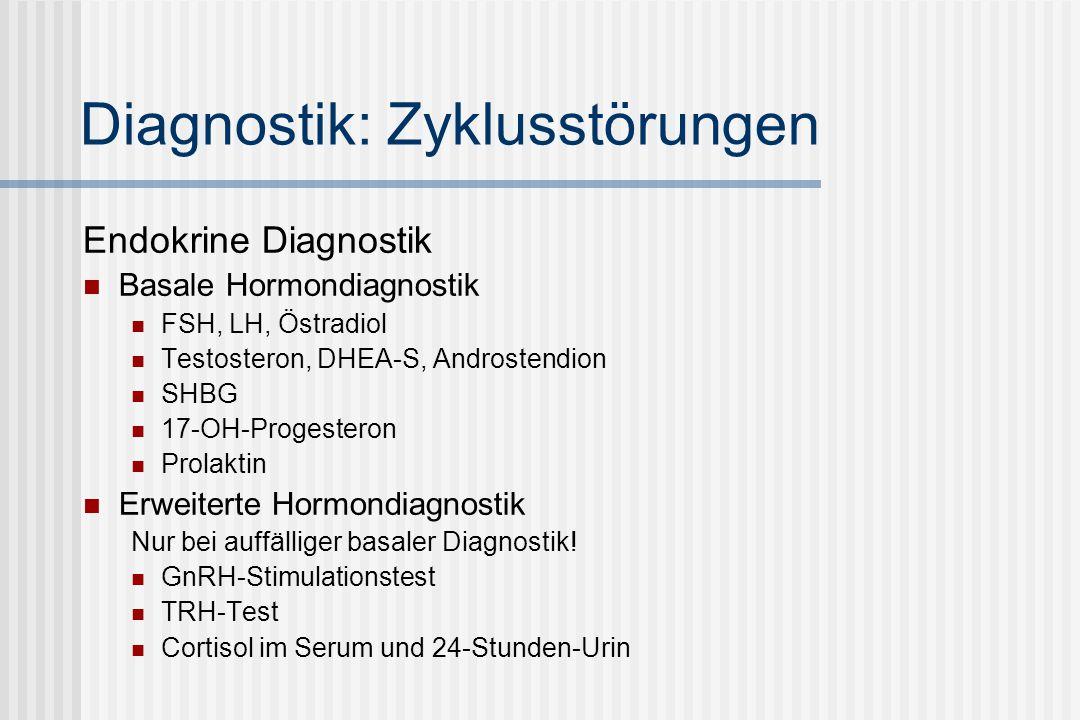 Diagnostik: Zyklusstörungen Endokrine Diagnostik Basale Hormondiagnostik FSH, LH, Östradiol Testosteron, DHEA-S, Androstendion SHBG 17-OH-Progesteron Prolaktin Erweiterte Hormondiagnostik Nur bei auffälliger basaler Diagnostik.