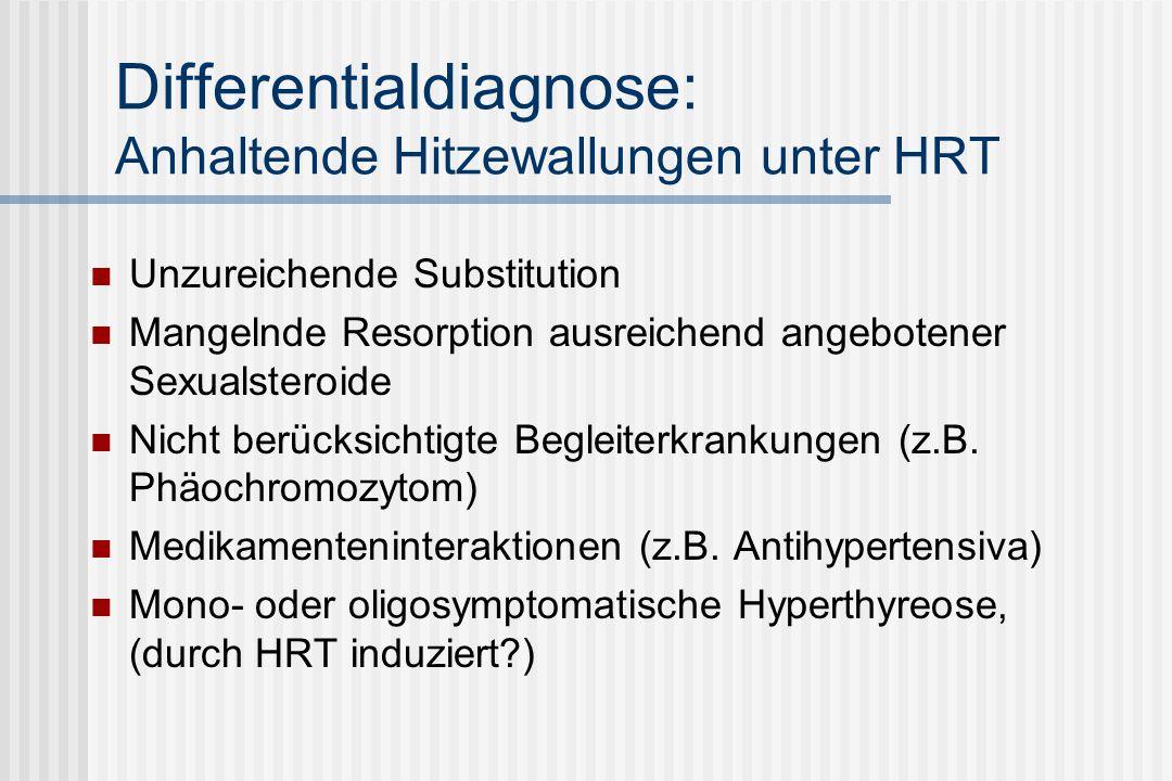 Differentialdiagnose: Anhaltende Hitzewallungen unter HRT Unzureichende Substitution Mangelnde Resorption ausreichend angebotener Sexualsteroide Nicht berücksichtigte Begleiterkrankungen (z.B.
