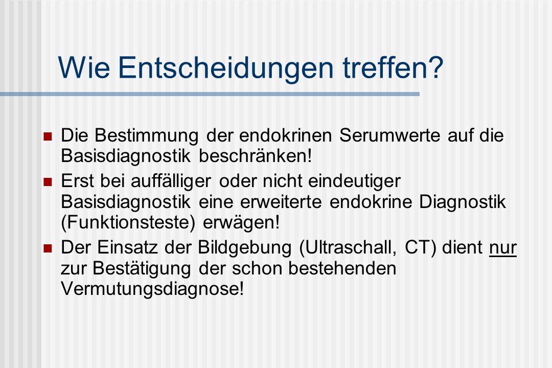 Endokrine Differentialdiagnose: Amenorrhoe Normogonadotrope Ovarialinsuffizienz Uterine oder vaginale Fehlanlagen Labordiagnostik: LH, FSH normal E2, Testosteron normal Vorkommen Mayer-Rokitansky-Küster-Syndrom Fehlende Entwicklung von Uterus, Zervix und Vagina Testikuläre Feminisierung (Androgenrezeptordefekt, 46XY) Fehlen von Uterus und/oder Vagina