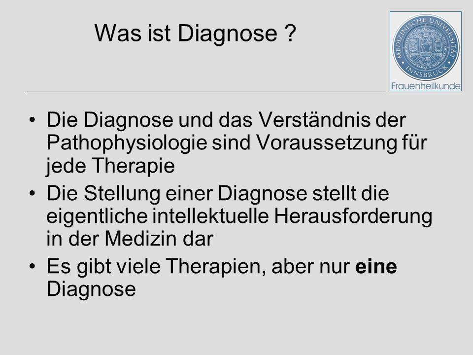 Vernünftiger Einsatz von klinischen und biochemischen Methoden Die Diagnose und das Verständnis der Pathophysiologie sind Voraussetzung für jede Thera