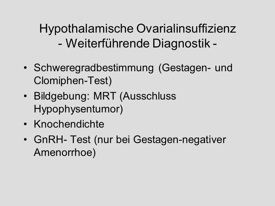 Hypothalamische Ovarialinsuffizienz - Weiterführende Diagnostik - Schweregradbestimmung (Gestagen- und Clomiphen-Test) Bildgebung: MRT (Ausschluss Hyp