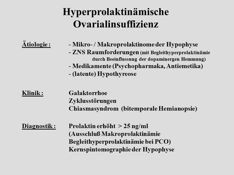 Hyperprolaktinämische Ovarialinsuffizienz Klinik :Galaktorrhoe Zyklusstörungen Chiasmasyndrom (bitemporale Hemianopsie) Diagnostik :Prolaktin erhöht >