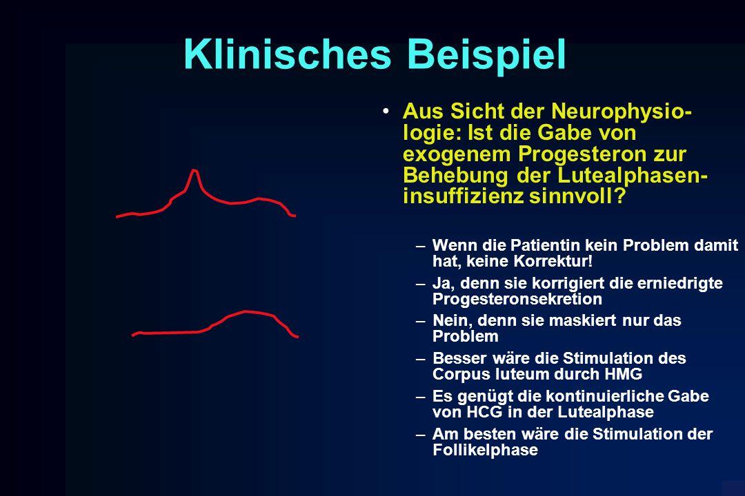 Klinisches Beispiel Aus Sicht der Neurophysio- logie: Ist die Gabe von exogenem Progesteron zur Behebung der Lutealphasen- insuffizienz sinnvoll? –Wen