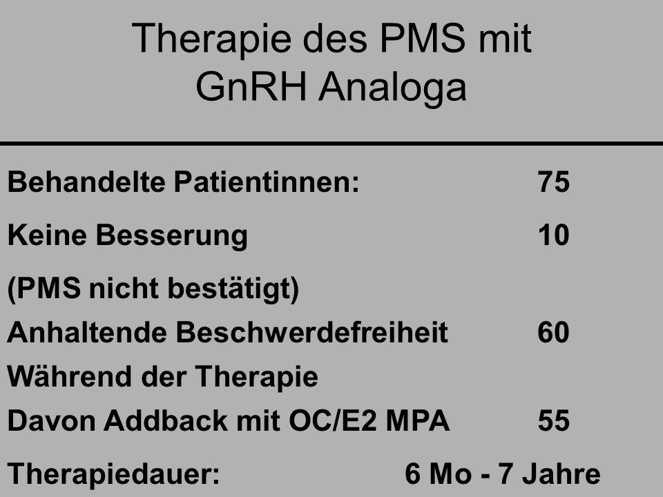 Therapie des PMS mit GnRH Analoga Behandelte Patientinnen: 75 Keine Besserung 10 (PMS nicht bestätigt) Anhaltende Beschwerdefreiheit60 Während der Therapie Davon Addback mit OC/E2 MPA55 Therapiedauer:6 Mo - 7 Jahre.
