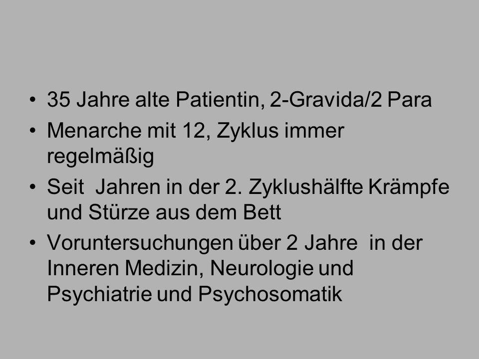 35 Jahre alte Patientin, 2-Gravida/2 Para Menarche mit 12, Zyklus immer regelmäßig Seit Jahren in der 2.
