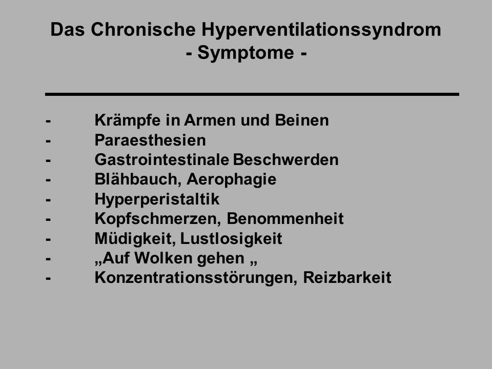 """Das Chronische Hyperventilationssyndrom - Symptome - - Krämpfe in Armen und Beinen - Paraesthesien - Gastrointestinale Beschwerden - Blähbauch, Aerophagie - Hyperperistaltik - Kopfschmerzen, Benommenheit - Müdigkeit, Lustlosigkeit - """"Auf Wolken gehen """" - Konzentrationsstörungen, Reizbarkeit"""