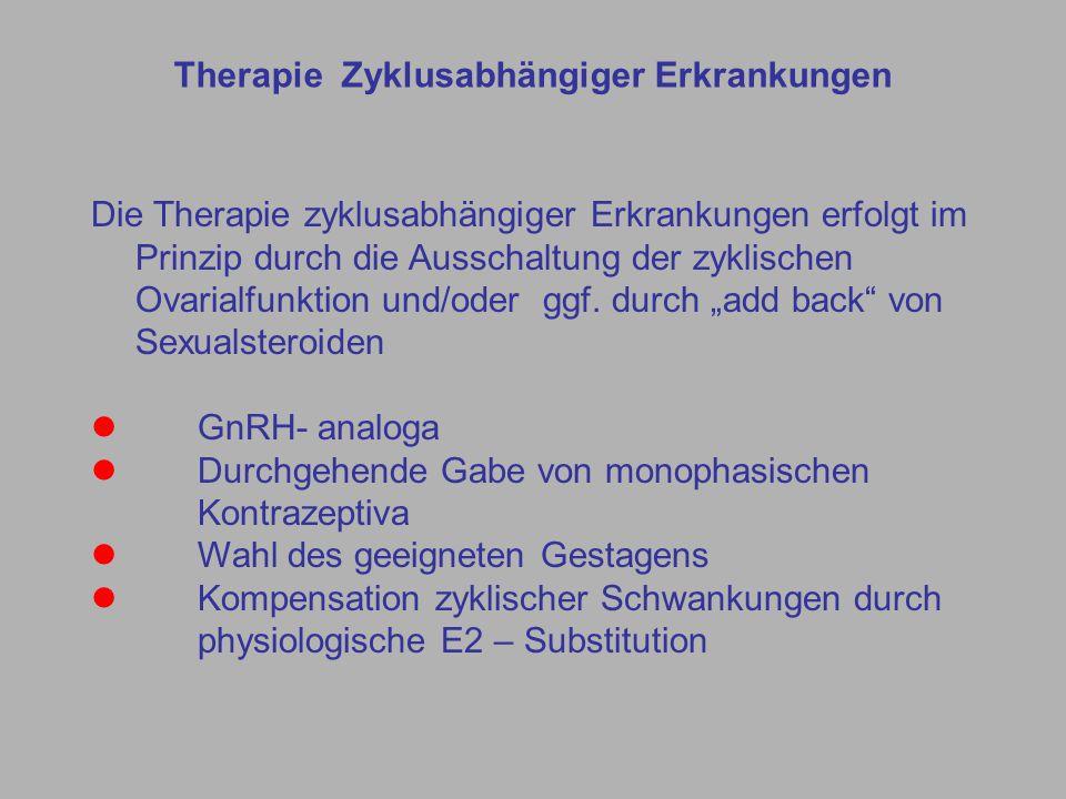 Die Therapie zyklusabhängiger Erkrankungen erfolgt im Prinzip durch die Ausschaltung der zyklischen Ovarialfunktion und/oder ggf.