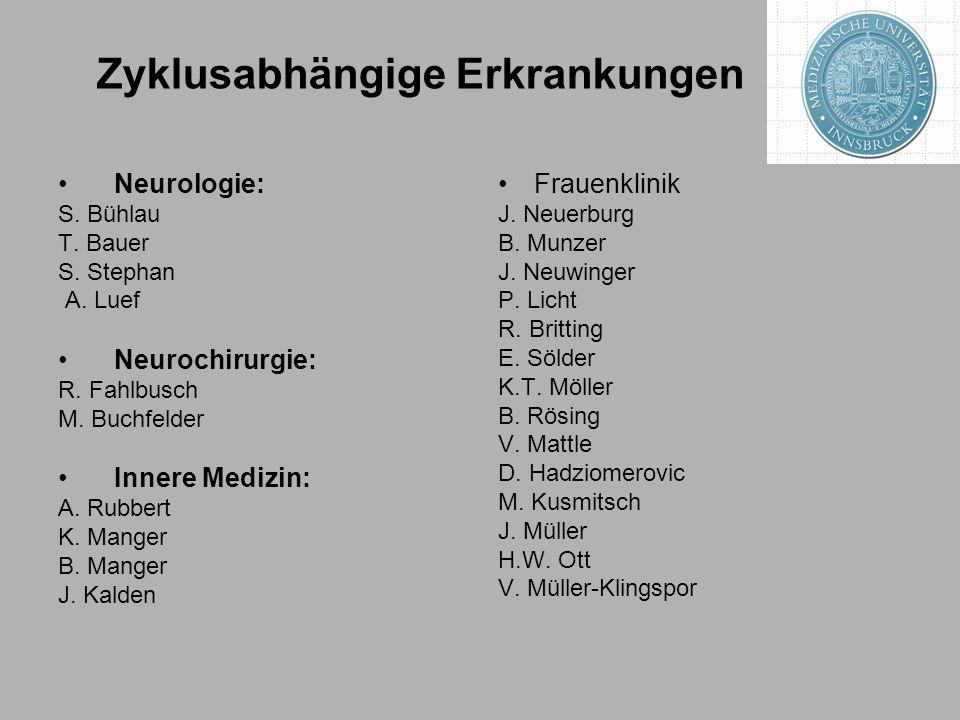 Zyklusabhängige Erkrankungen Neurologie: S.Bühlau T.
