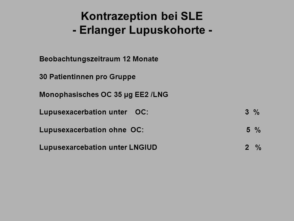 Kontrazeption bei SLE - Erlanger Lupuskohorte - Beobachtungszeitraum 12 Monate 30 Patientinnen pro Gruppe Monophasisches OC 35 µg EE2 /LNG Lupusexacerbation unter OC: 3 % Lupusexacerbation ohne OC: 5 % Lupusexarcebation unter LNGIUD2 %
