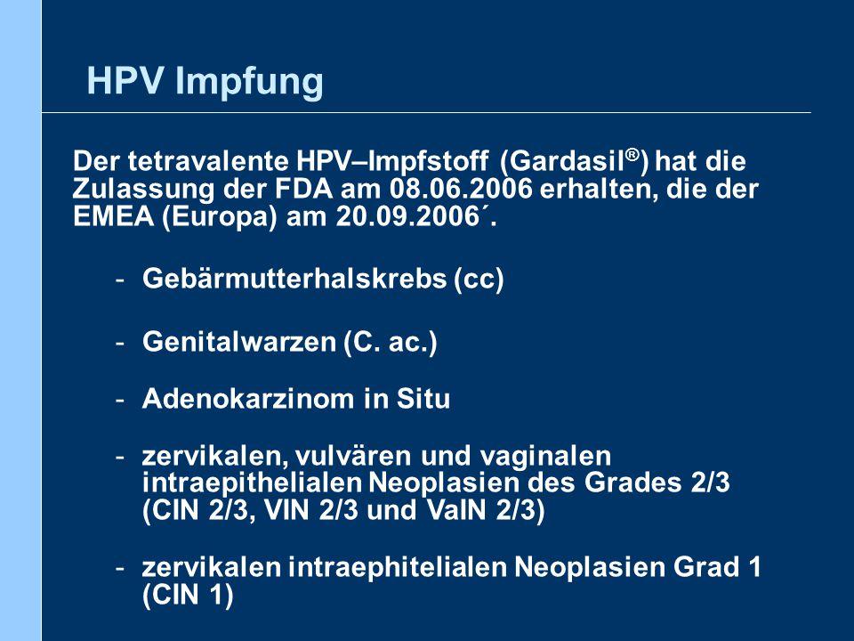 Der tetravalente HPV–Impfstoff (Gardasil ® ) hat die Zulassung der FDA am 08.06.2006 erhalten, die der EMEA (Europa) am 20.09.2006´. -Gebärmutterhalsk