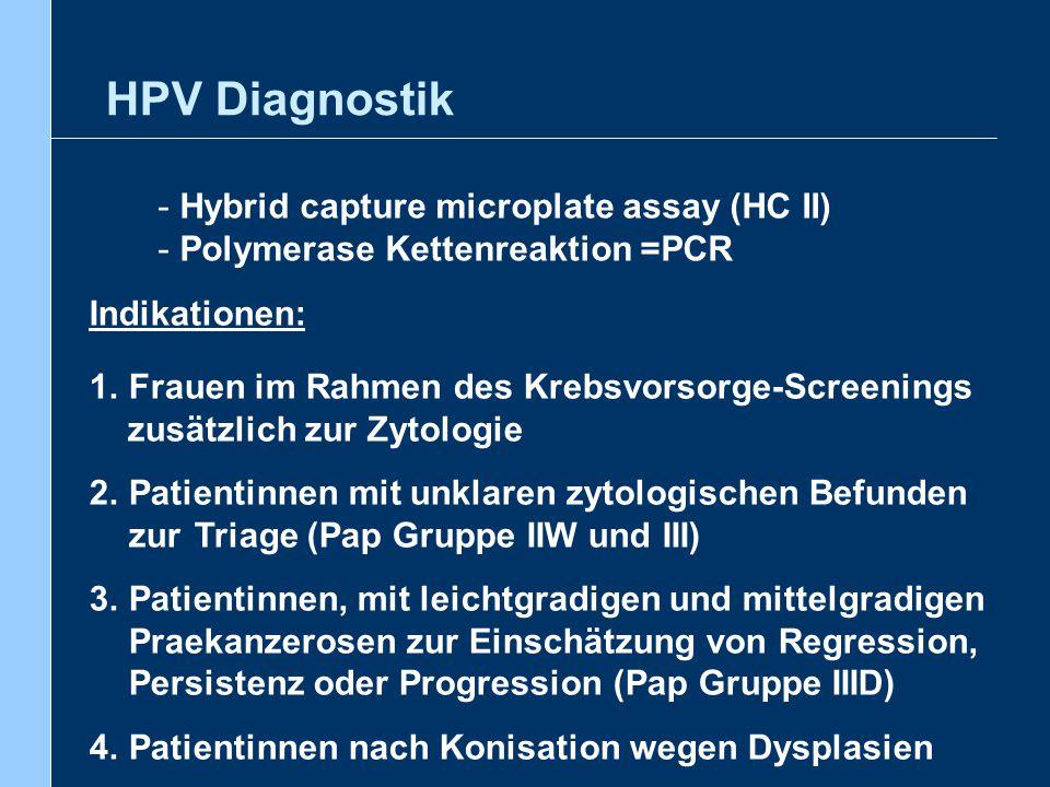 HPV Diagnostik - Der Nachweis von HR – HPV zur Erkennung von CIN oder Zervixkarzinom ist sensitiver als die zytologische Untersuchung - Bei negativem HR – HPV Nachweis ist das Vorliegen von CIN oder Zervixkarzinom extrem selten - Bei zytologisch unklaren Veränderungen ist die Triage mit Hilfe des HR – HPV Tests kosteneffizienter als eine Wiederholung der zytologischen Untersuchung