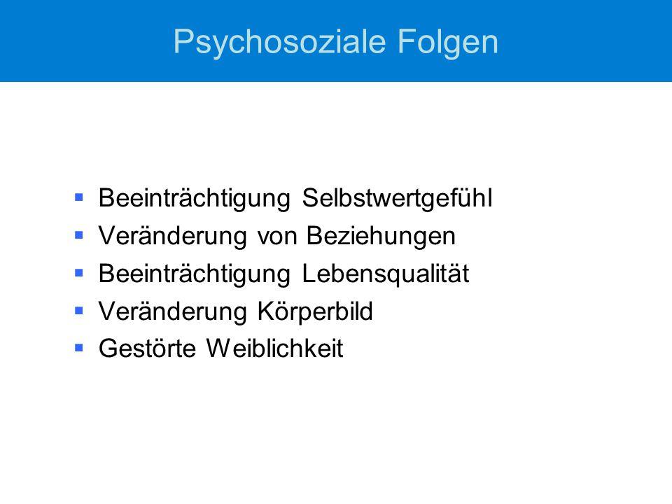 Psychosoziale Folgen  Beeinträchtigung Selbstwertgefühl  Veränderung von Beziehungen  Beeinträchtigung Lebensqualität  Veränderung Körperbild  Ge
