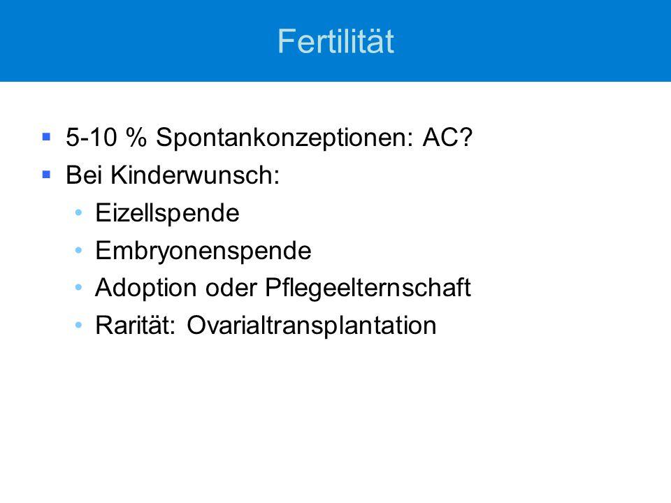 Fertilität  5-10 % Spontankonzeptionen: AC?  Bei Kinderwunsch: Eizellspende Embryonenspende Adoption oder Pflegeelternschaft Rarität: Ovarialtranspl