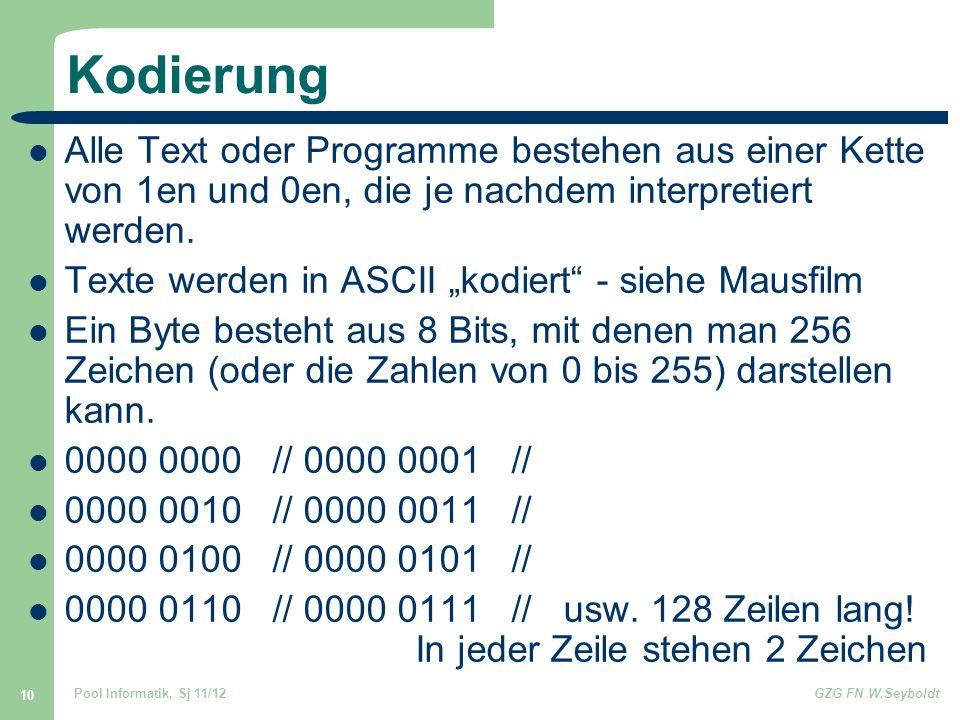Pool Informatik, Sj 11/12GZG FN W.Seyboldt 10 Kodierung Alle Text oder Programme bestehen aus einer Kette von 1en und 0en, die je nachdem interpretiert werden.