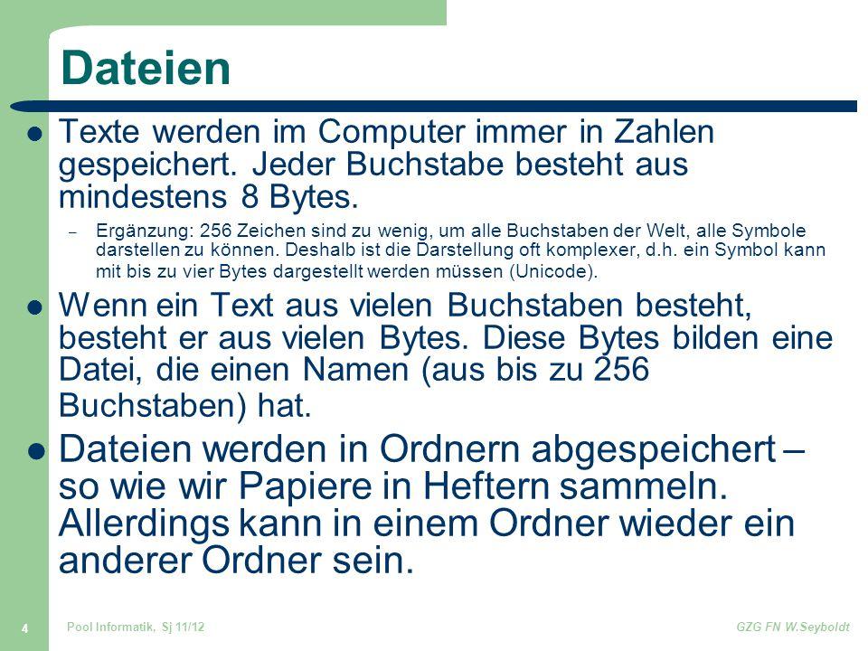 Pool Informatik, Sj 11/12GZG FN W.Seyboldt 4 Dateien Texte werden im Computer immer in Zahlen gespeichert. Jeder Buchstabe besteht aus mindestens 8 By