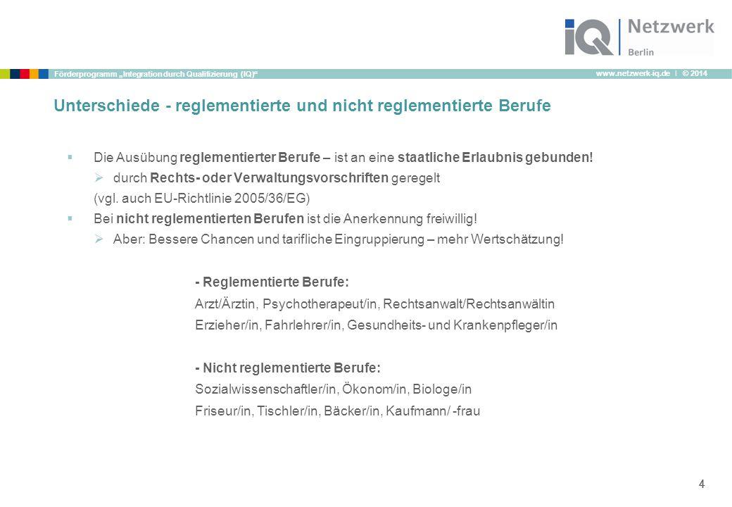 """www.netzwerk-iq.de I © 2014 Förderprogramm """"Integration durch Qualifizierung (IQ)"""" 444 Unterschiede - reglementierte und nicht reglementierte Berufe """