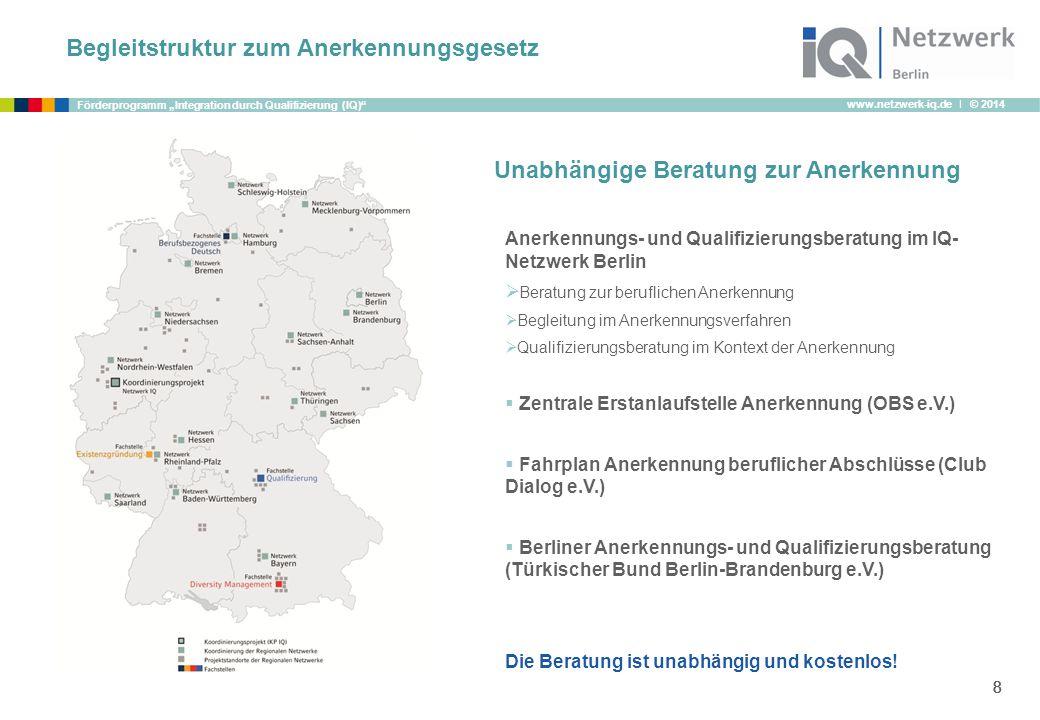 """www.netzwerk-iq.de I © 2014 Förderprogramm """"Integration durch Qualifizierung (IQ)"""" 8888 Anerkennungs- und Qualifizierungsberatung im IQ- Netzwerk Berl"""
