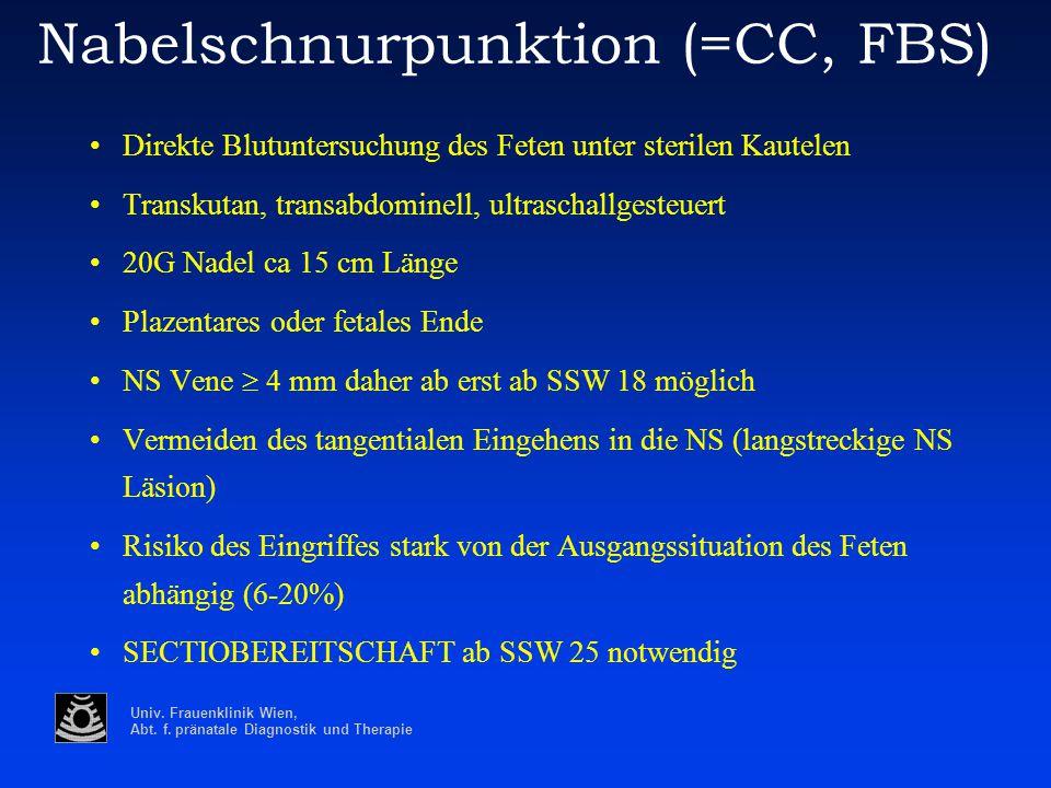 Univ. Frauenklinik Wien, Abt. f. pränatale Diagnostik und Therapie Nabelschnurpunktion (=CC, FBS) Direkte Blutuntersuchung des Feten unter sterilen Ka