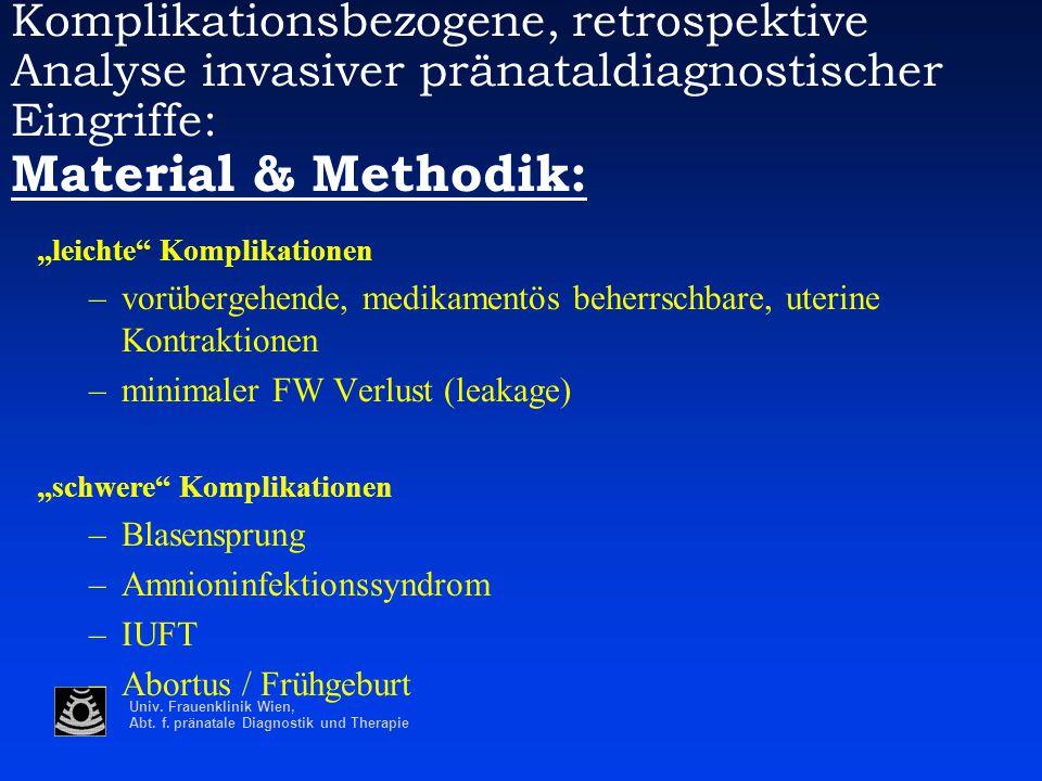Univ. Frauenklinik Wien, Abt. f. pränatale Diagnostik und Therapie Komplikationsbezogene, retrospektive Analyse invasiver pränataldiagnostischer Eingr