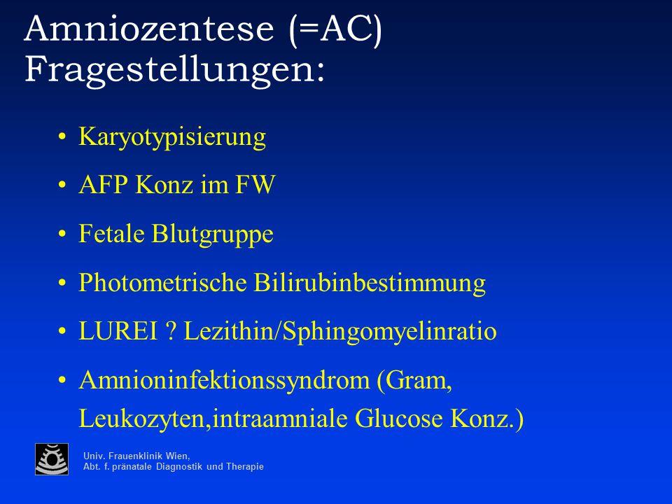 Univ. Frauenklinik Wien, Abt. f. pränatale Diagnostik und Therapie Amniozentese (=AC) Fragestellungen: Karyotypisierung AFP Konz im FW Fetale Blutgrup
