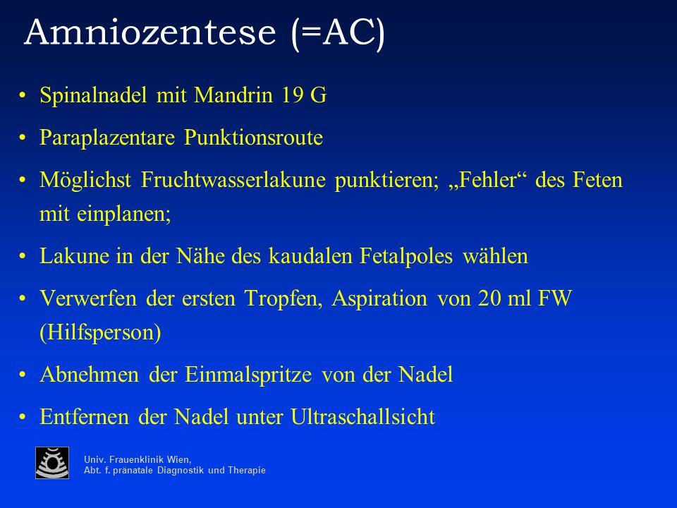 Univ. Frauenklinik Wien, Abt. f. pränatale Diagnostik und Therapie Amniozentese (=AC) Spinalnadel mit Mandrin 19 G Paraplazentare Punktionsroute Mögli