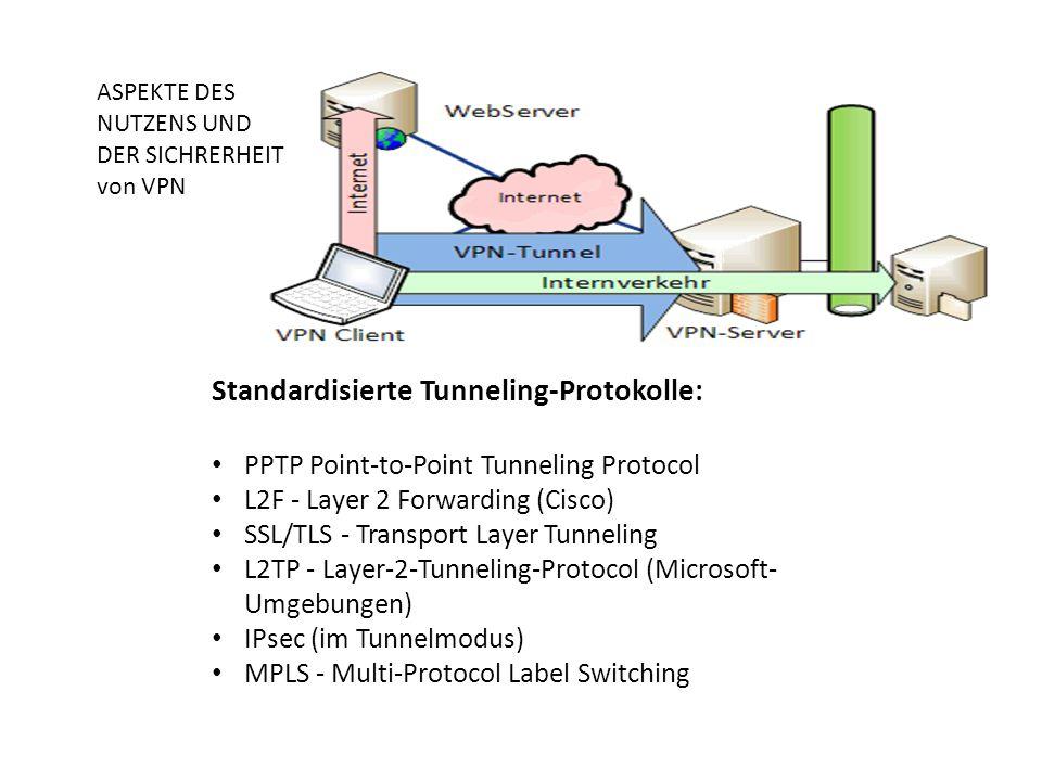 Standardisierte Tunneling-Protokolle: PPTP Point-to-Point Tunneling Protocol L2F - Layer 2 Forwarding (Cisco) SSL/TLS - Transport Layer Tunneling L2TP