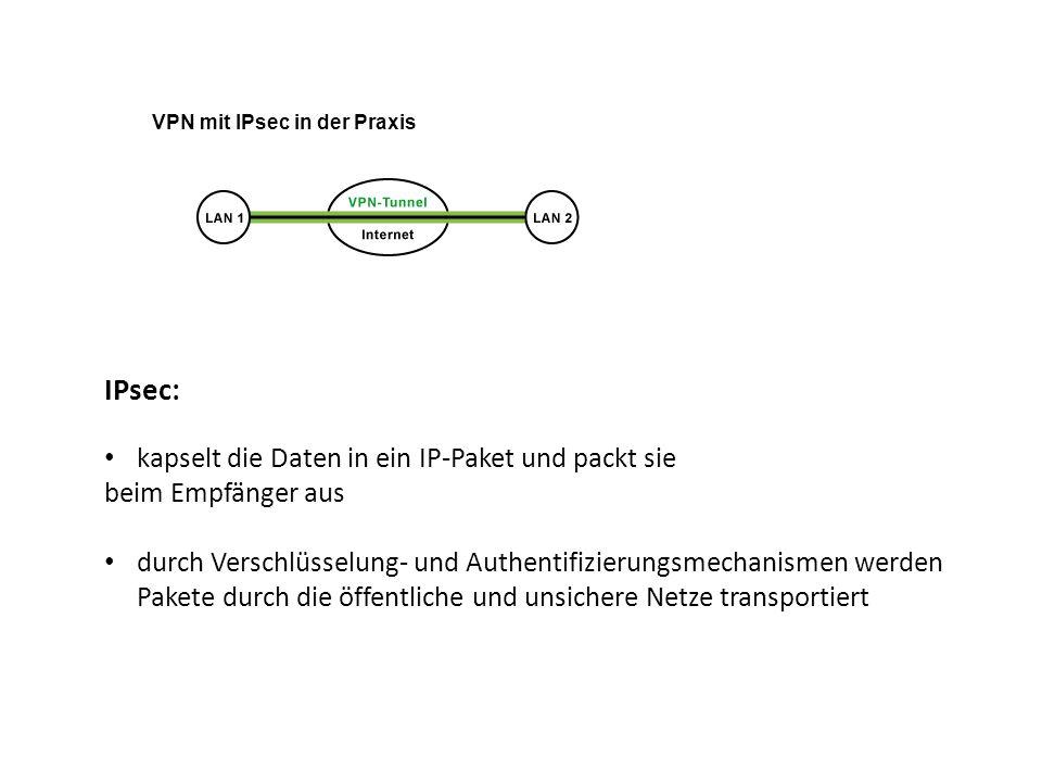 VPN mit IPsec in der Praxis IPsec: kapselt die Daten in ein IP-Paket und packt sie beim Empfänger aus durch Verschlüsselung- und Authentifizierungsmec