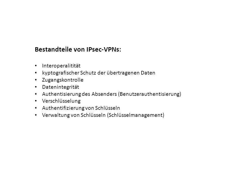 Bestandteile von IPsec-VPNs: Interoperalitität kyptografischer Schutz der übertragenen Daten Zugangskontrolle Datenintegrität Authentisierung des Abse