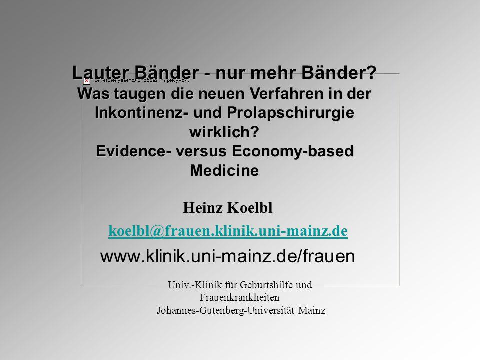 Heinz Koelbl koelbl@frauen.klinik.uni-mainz.de www.klinik.uni-mainz.de/frauen Lauter Bänder - nur mehr Bänder.