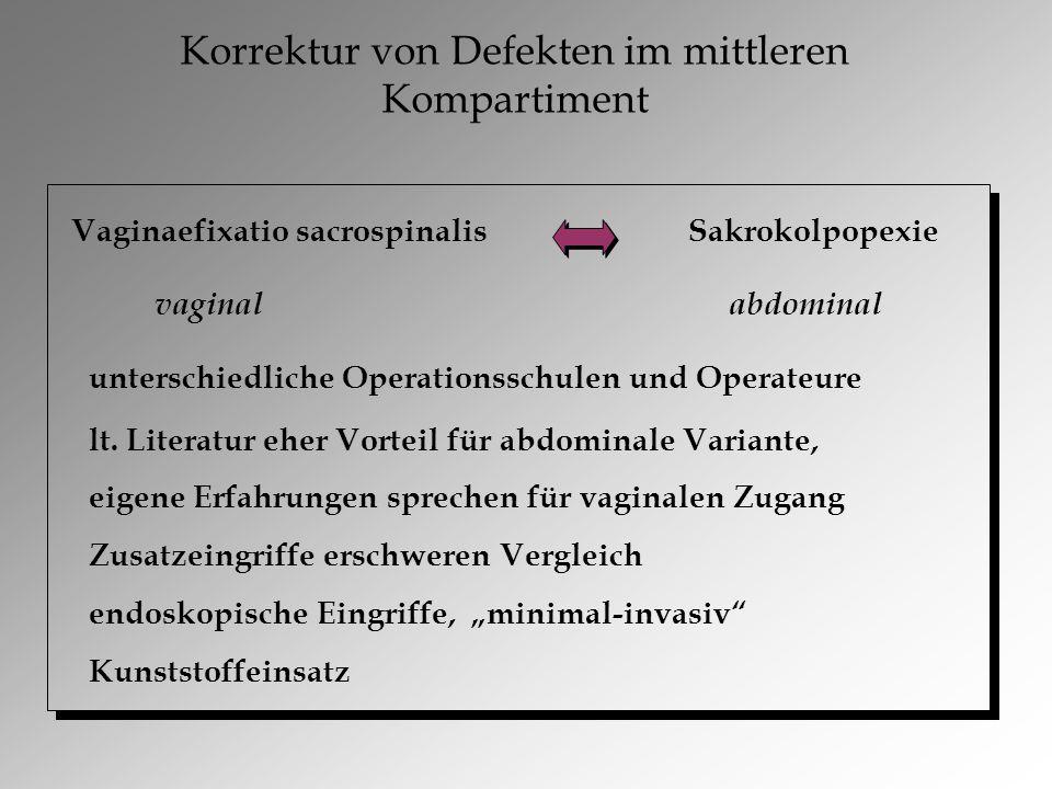 Korrektur von Defekten im mittleren Kompartiment Vaginaefixatio sacrospinalis Sakrokolpopexie vaginal abdominal unterschiedliche Operationsschulen und Operateure lt.